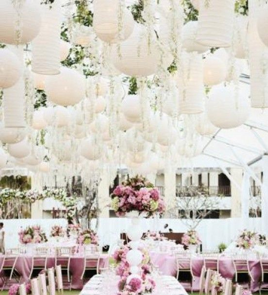 wedding decoration ideas for reception paper lanterns and hanging flowers for wedding decor 9048
