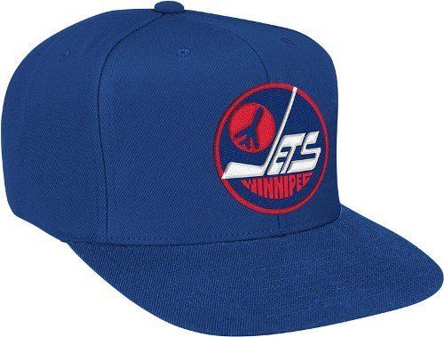 Mitchell & Ness Winnipeg Jets Basic Vintage Logo Adjustable Hat - Navy Blue by Mitchell & Ness. $25.95. Help support your favorite team in this NHL Retro Snap Back Hat from Mitchell & Ness. Features embroidered logo's, stylish adjustable snap back, green under visor, and contrasting team colors for added style. Made of 100% wool and officially licensed by the NHL.. Save 54% Off!