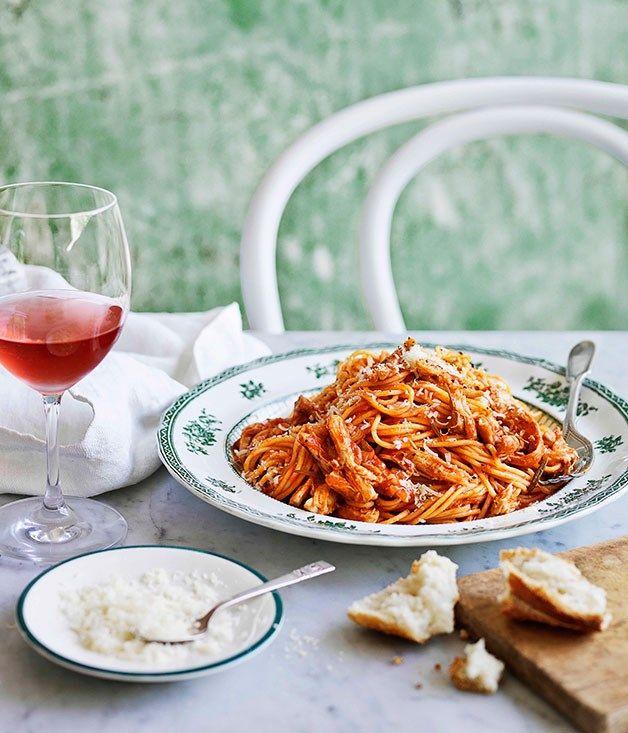Mum's spaghettini with braised chicken, tomato and rosemary sauce :: Gourmet Traveller