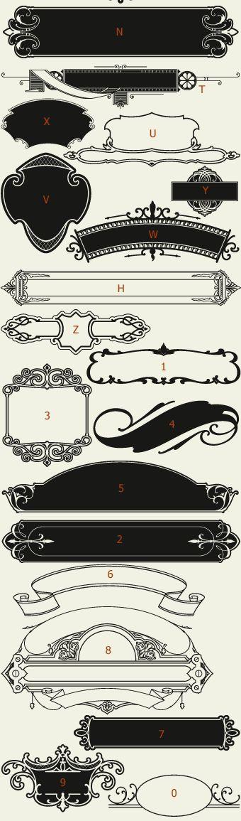 Letterhead Fonts / LHF Centennial Panels 4 / Decorative Panels NOT FREE