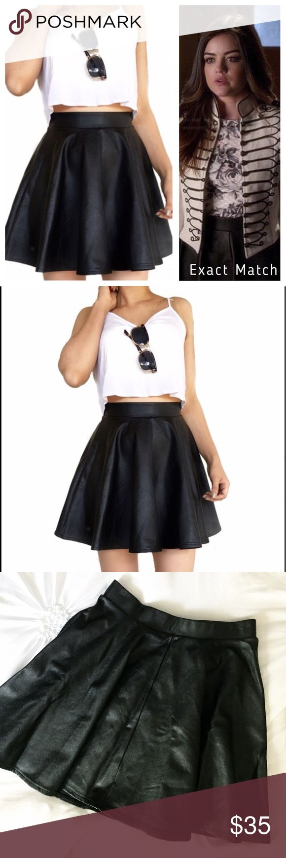Topshop Faux Leather Skater Skirt An amazing skirt! A chic and staple piece for any wardrobe. Mix and match or layer this fun skater style! EUC. As seen on Pretty Little Liars worn by Aria Montgomery / Lucy Hale. PLL wardrobe. Topshop Skirts Circle & Skater