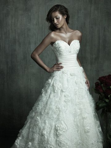 Allure A-line Strapless Wedding Gown for Nearly Newlywed #Allure #Aline #Strapless #Wedding #Bridal