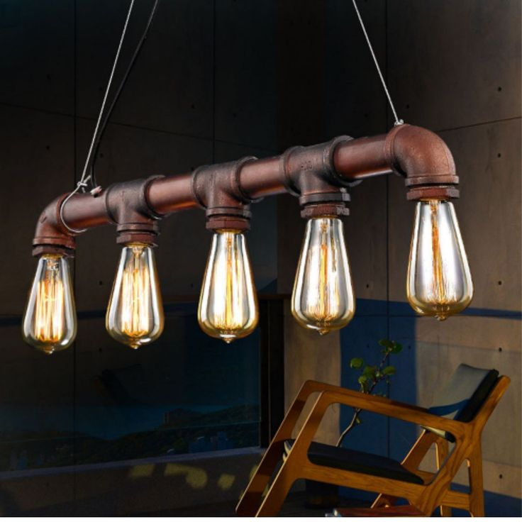 Retro Dig® Steampunk Industrial Vintage Rustic Ceiling Lighting Copper Pendant Pipe Light Chandelier Fitting + 5 E27 Edison Bulbs
