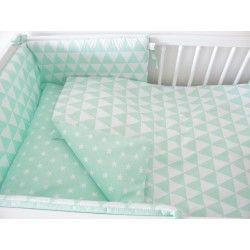 Ochraniacz do łóżeczka Biało Miętowy - trójkąty gwiazdki