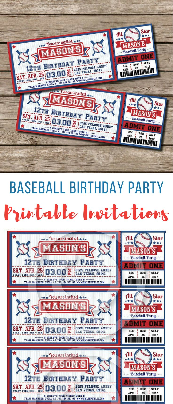 these invitations would be perfect for Noah's baseball party birthday theme, they look so legit like real baseball tickets lol #birthday #birthdayinvitations #printablebirthdayinvitations #baseballbirthdayparty #baseball #printableinvitations #boysbirthdaypartyideas #affiliate