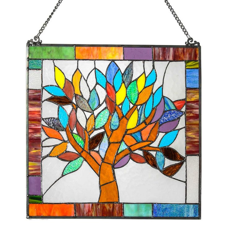 River of Goods 18 in. Stained Glass Mystical World Tree Window Panel - 15042