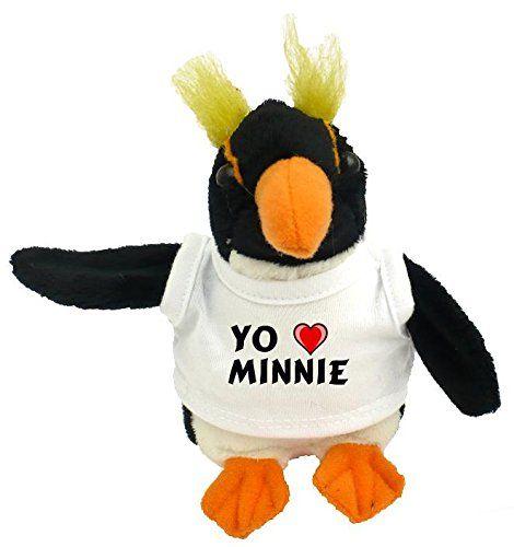 Pingüino personalizado de peluche (juguete) con Amo Minnie en la camiseta (nombre de pila/apellido/apodo) #camiseta #friki #moda #regalo