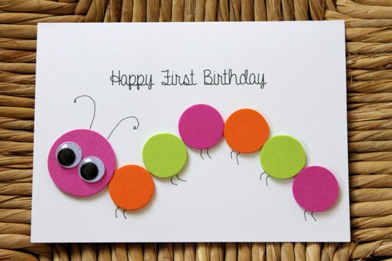 "Made by Kiely's Kards: http://www.etsy.com/shop/KielysKards.  ""Happy First Birthday"" caterpillar card for little girl"