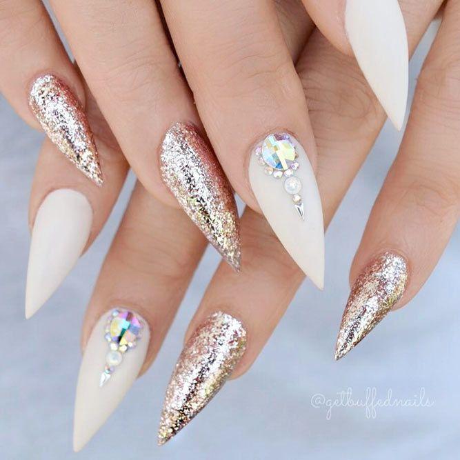 Acrylic Nail Designs Long Stiletto Matte White Rhinestones Gold