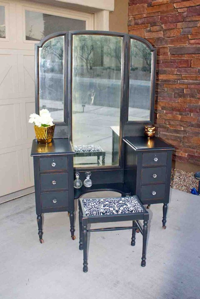 Antique Vanity painted black - 105 Best Vanities/armoirs Images On Pinterest Dressing Tables