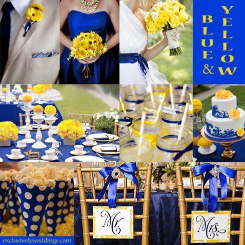 geel in combinatie met Royal Blue