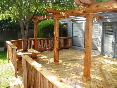Backyard deck ideas, with pergolasDecks Around Trees, Backyards Decks Ideas, House Ideas, Backyards Decks With Pergolas, Decks Benches, Decks Ideas With Pergolas, Deckand Pergolas, Benches Seats, Decks Backyards Ideas