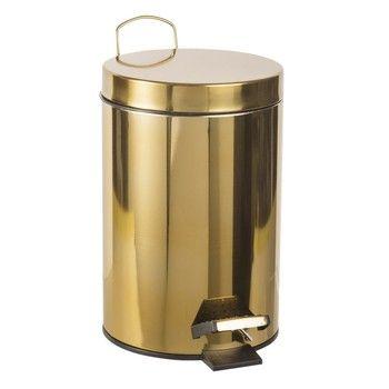 Poubelle à pédale en métal doré