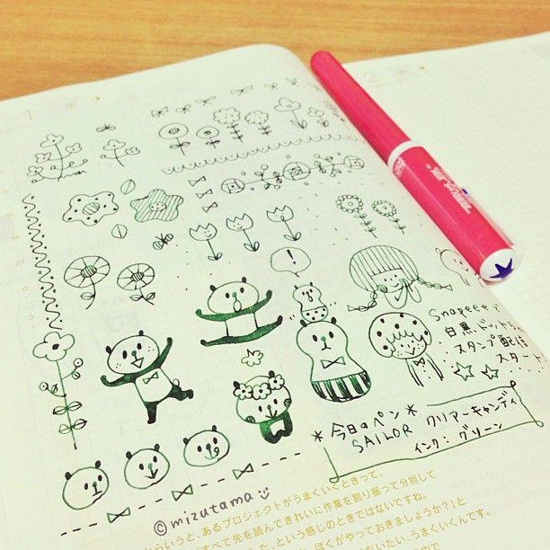 .@mizutamahanco | 今日のほぼ日手帳。書くことがなかった…そんな日はお絵描きページになりますです。 | Webstagram