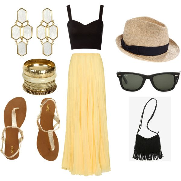 Crop top+Maxi Skirt+Fringe+Bangles, created by inscoreb8871 on Polyvore