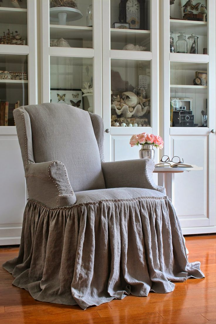Slipcovered Wing Chair With Full Gathered Skirt Curious Details