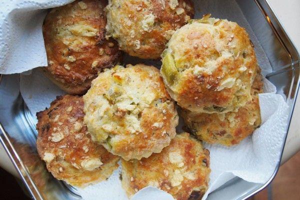British Wensleydale Cheese, Leek & Walnut Scones. Self raising flour, butter, milk, egg. Tea time. Vegetarian. Lavender & Lovage