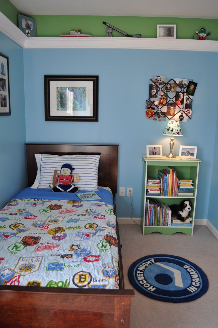 Boys hockey bedroom ideas - Inspiring And Uniqueness Of Hockey Bedroom Decor Cool Hockey Bedroom Decor With Single Size Bed