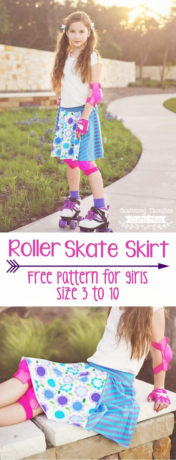 Sew this adorable Roller Skate Circle skirt for your little girl. Free printable pattern in sizes 3 to 10.