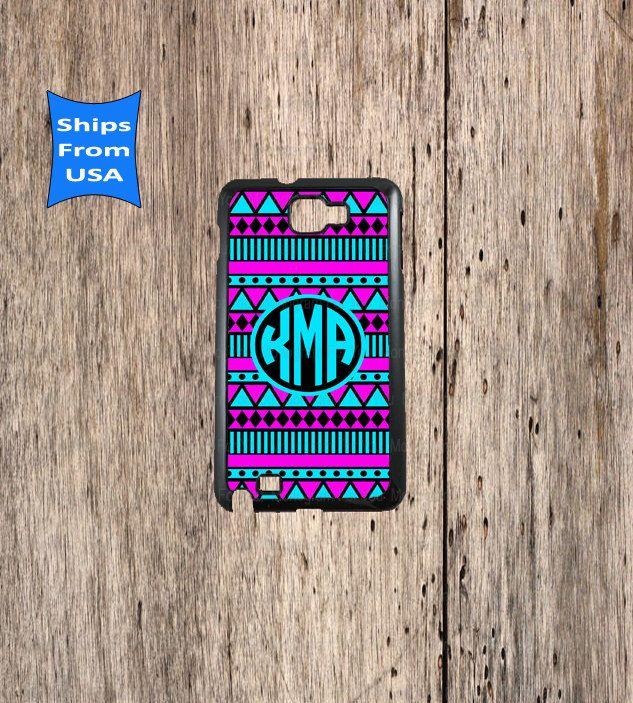 Monogram Samsung Galaxy Note Case Aztec Pattern by MonogramForYou