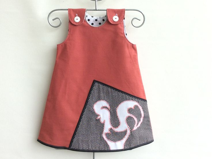 Little girl a-line salmon dress toddler a-line dress for girls handmade salmon dress to fit 12 months and 4 years by Grifinhos on Etsy