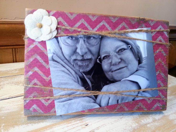 5x8 Photo Frame, Pink Chevron Frame, Valentine Frame, Custom Order by Backtothewoodshop on Etsy