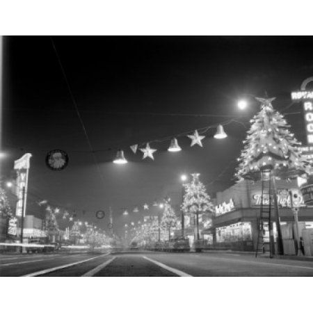 USA California Los Angeles Hollywood Hollywood Boulevard at night looking East showing Christmas lights Canvas Art - (24 x 36)