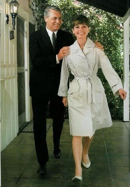 Audrey and Cary on the set of 'Charade' 1963 - Cutest photo ever