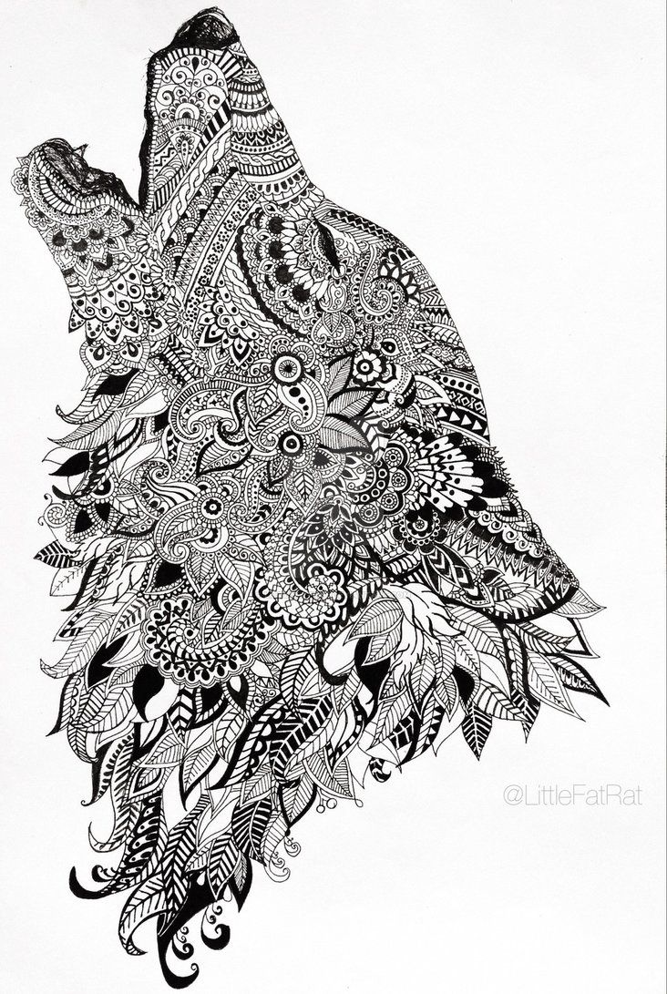 Howling Wolf Zentangle By Littlefatrat Mandala