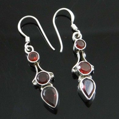 925 Sterling Silver Jewelry Siam Stone Dangle Earrings Women Fashion Jewellery
