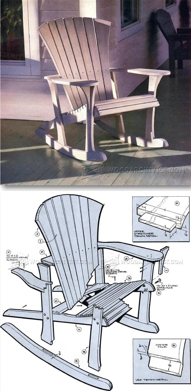 Outdoor Wood Chair Plans - Adirondack rocking chair plans outdoor furniture plans projects woodarchivist com