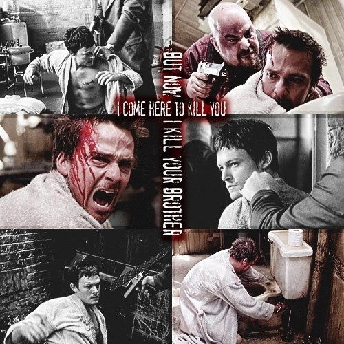 ;) the boondock saints ;)  Sean Patrick Flanery and Norman Reedus <3 Flanery's character rips the commode up and hits the bad guy over the head with it!