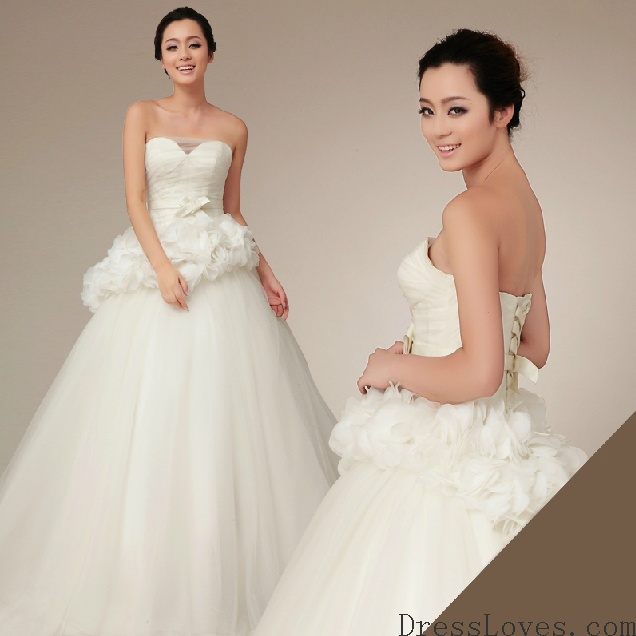 Tulle A-Line Gown Sweetheart Neckline With Organza Around the Waist Style  YSP430