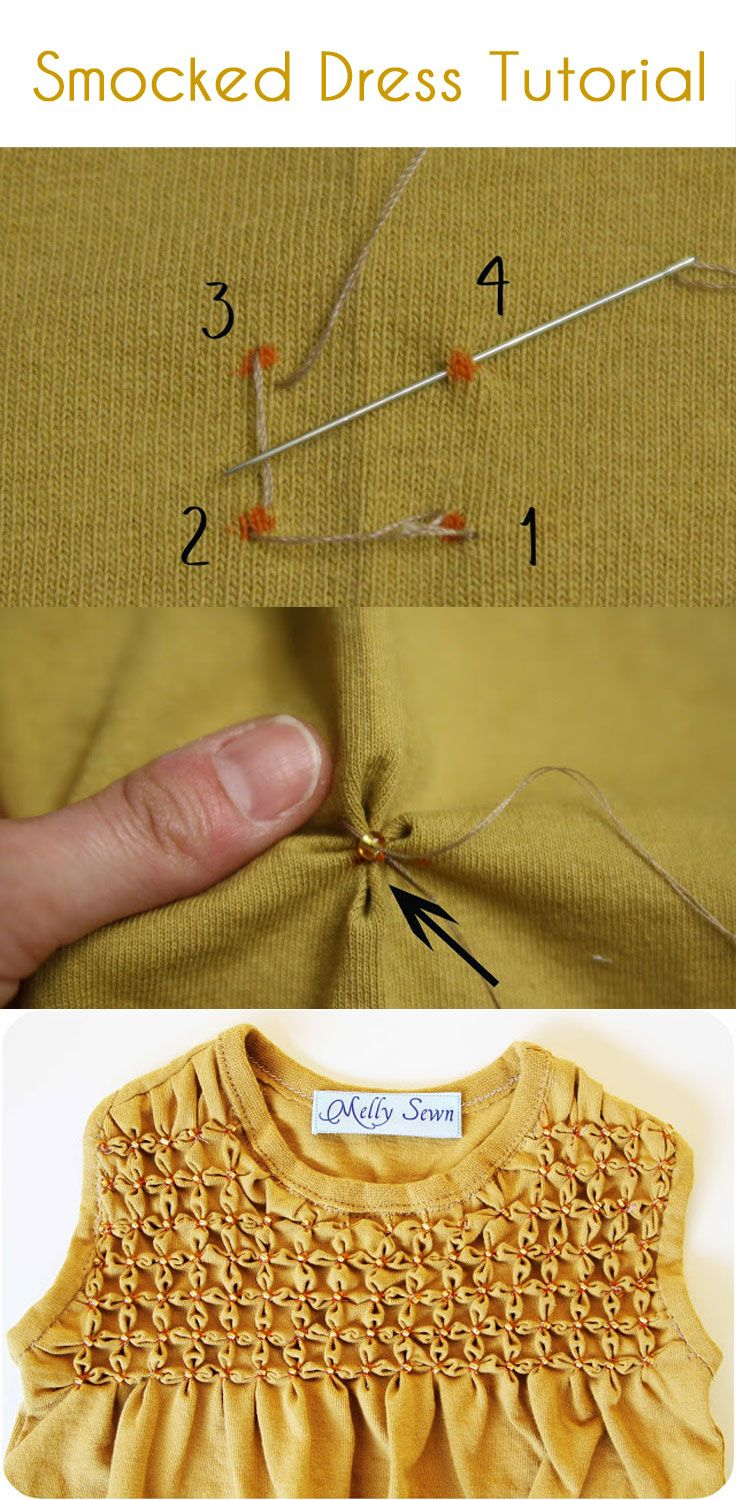 Make a smocked dress for a little girl from an old t-shirt