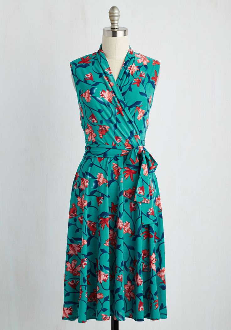 Paris? Oui! Dress in Teal. Youve spent your whole life dreaming of a trip to France, and as you excitedly approach the Arc de Triomphe in this teal dress by Karina, fantasy becomes reality! #multi #modcloth