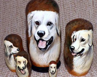 Kuvasz on Five Russian Nesting Dolls. Dogs.