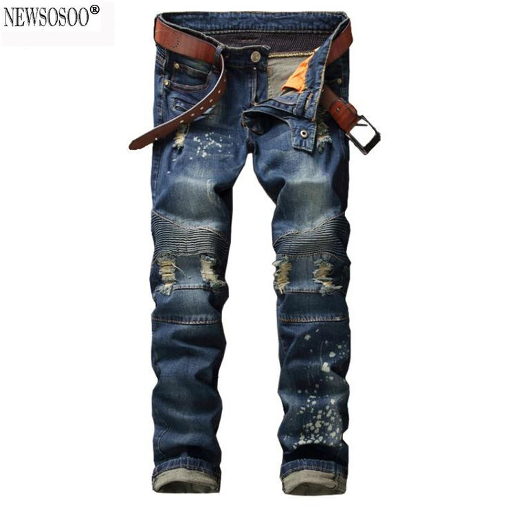 Newsosoo brand Men's holes ripped biker jeans for motorcycle Casual painted slim skinny straight blue stretch denim pants  MJ55