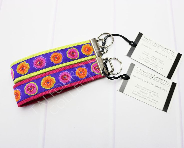Flower Key Fob - Floral Keychain - Floral Lanyard - Ribbon Key Ring - Orange Pink Green - Gift Under 10 - Stocking Stuffer by TalfourdJones on Etsy