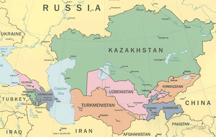 Central Asia  -   Maps, Caucasus, Kazakhstan, Uzbekistan, Turkmenistan, Kyrgyzstan, Tajikistan