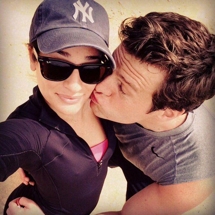 Pin for Later: Lea Michele Can't Hide Her Smile Around Jonathan Groff