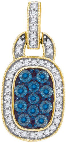 1/2CTW-Diamond BLUE MICRO-PAVE PENDANT