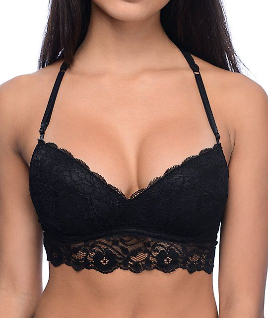 The Kapua black lace push up racerback bralette is the perfect bralette to wear under a delicate top that shows off your shoulders. The black lace construction extends to the racer back, adding a flirtatious style to those peek-a-boo moments when your top