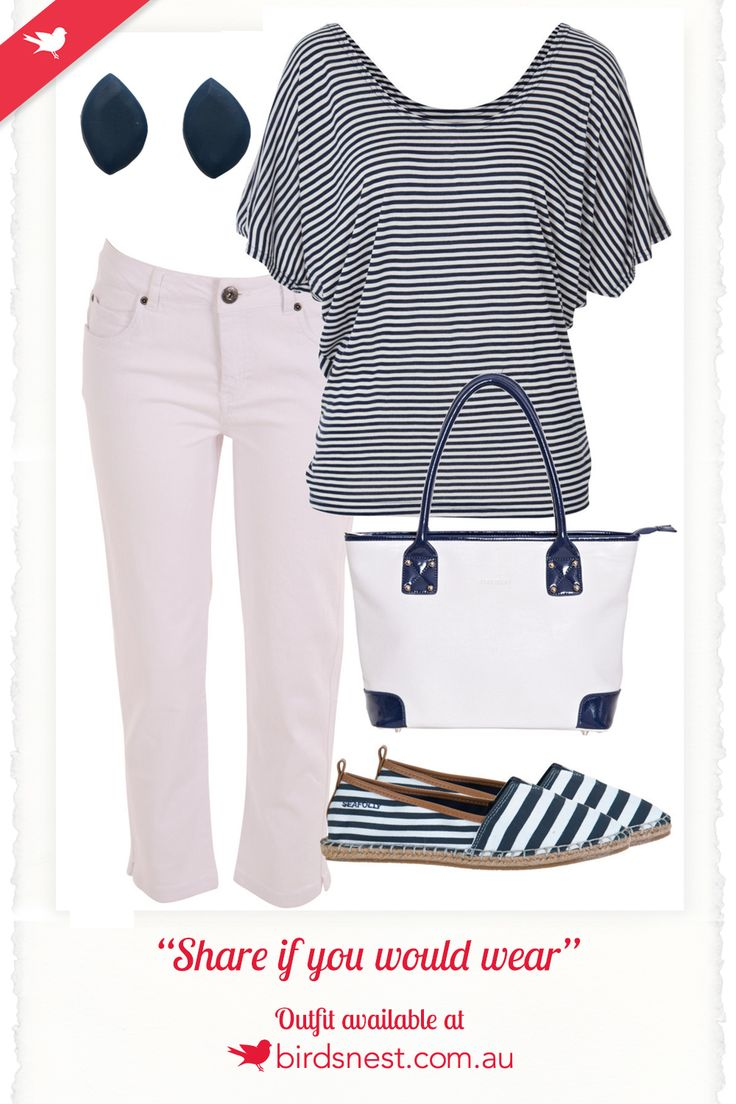 Outfit Inspiration - This off-duty, nautical look is perfect for a day out shopping, lunching with friends, strolling through the park, or exploring the streets of your holiday destination.