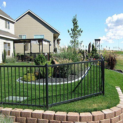 Black Wrought Iron Steel 4-feet High x 6.5-feet Wide 2-Rail Fence Panel Kit