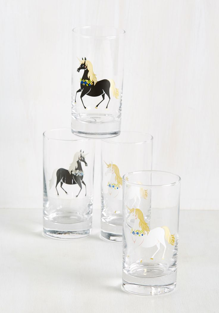 The Neighs Have It Glass Set. Its unanimous - all of your friends love to use this drinking glass set when they visit! #black #modcloth