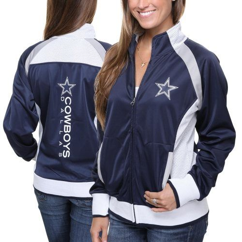 Dallas Cowboys Ladies Clover Full-Zip Hoodie - Ash/Navy Blue