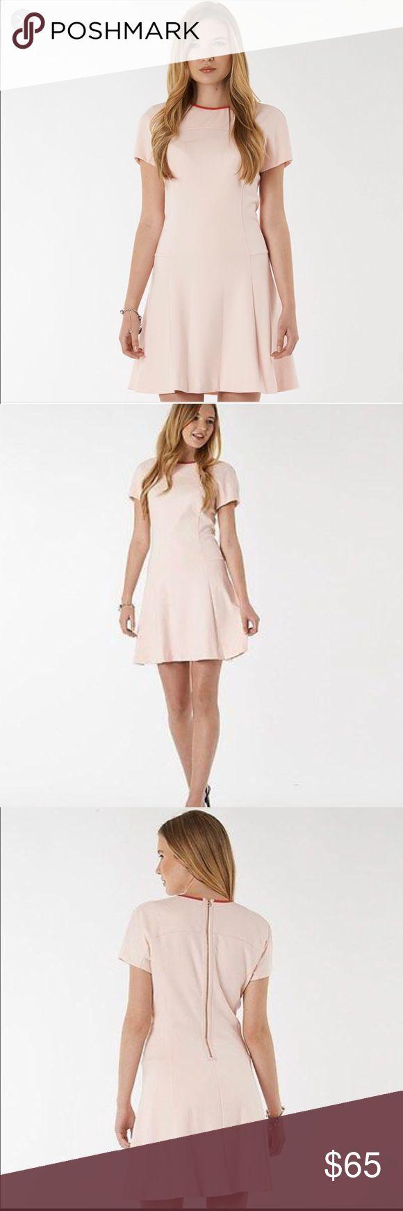 Ted baker pink skater dress rose gold zipper new