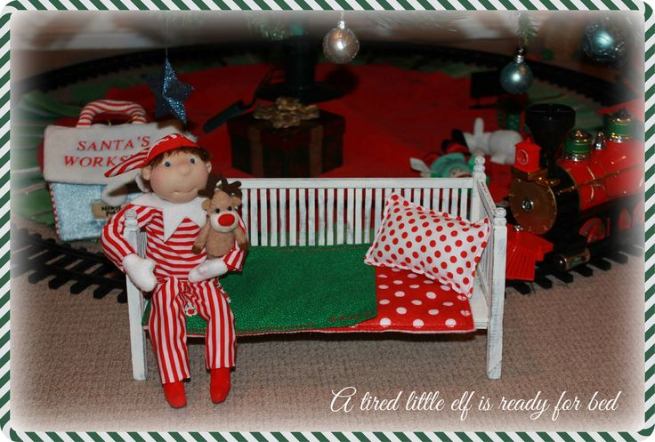 A tired little shelf elf ready for bed. Handmade elf on the shelf.