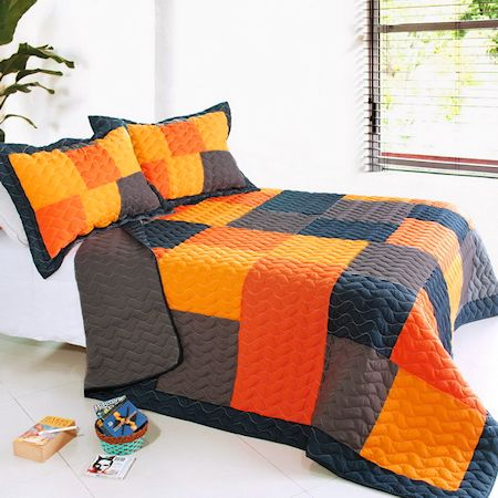 Black Orange Patchwork Teen Boy Bedding Full Queen Quilt