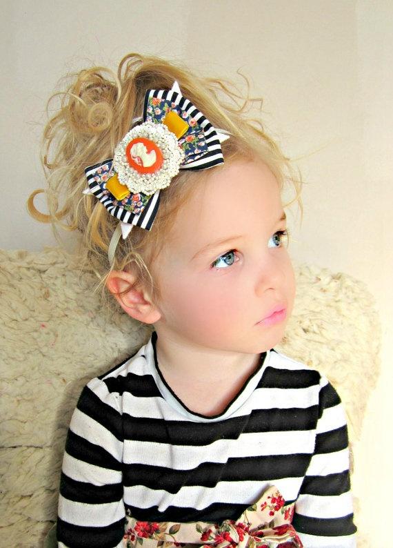 Baby Bow Headband  Vintage Fabric Bow with by giddyupandgrow, $22.00